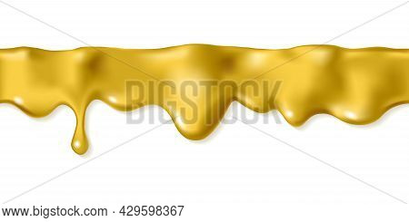 Liquid Gold Seamless Drop Isolated On White Background. Melted Golden Icing Or Oil Drip. Realistic 3