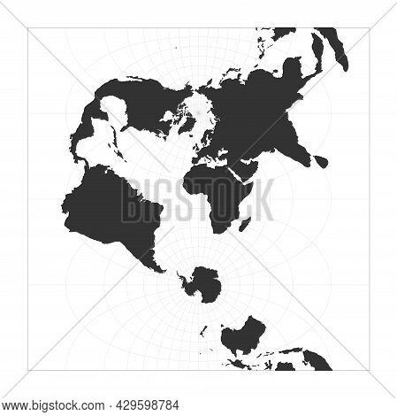 Map Of The World. Transverse Spherical Mercator Projection. Globe With Latitude And Longitude Net. W