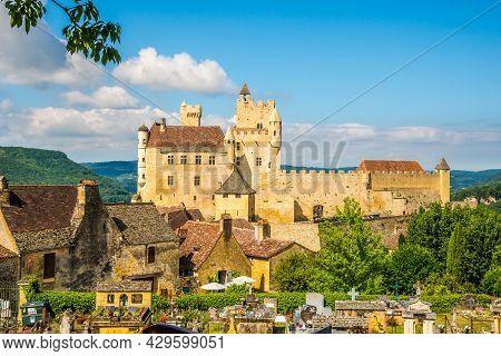 Beynac Et Cazenac, France - June 25,2021 - View At The Castle Of  Beynac-et-cazenac With Old Cemeter