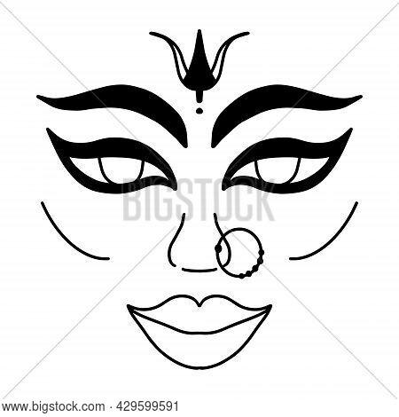 Sharad Navaratri. Dvine Feminine Goddess Devi Durga Portrait. Indian Woman Face In Black Outline Iso