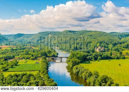 View To The Countryside From The Beynac-et-cazenac Castle Located In The Dordogne Department In Sout