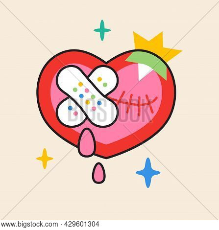 Crazy Heart Sticker Vector. Abstract Comic Character With Big Angry Eye