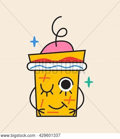 Crazy Coffee Cup Sticker Vector. Abstract Comic Character With Big Angry Eye