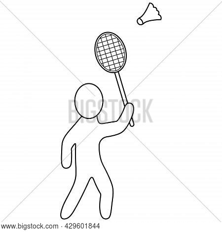 Badminton. The Player Hits The Shuttlecock With A Racket. Sketch. Vector Icon. The Man Is Playing A