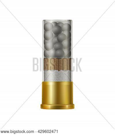Realistic Shotgun Shell Against White Background Vector Illustration