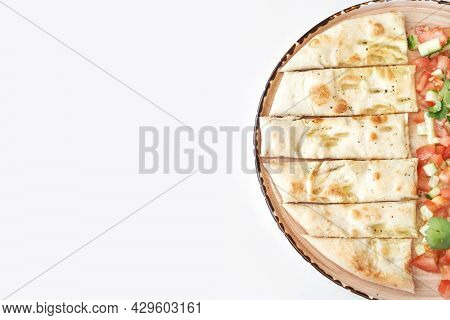 Cheese Breadstick On Plate. Baked Homemade Appetizing. Italia Dinner. Pizza With Vegetables. Round F