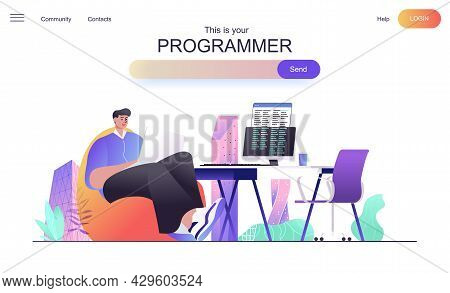 Programmer Web Concept For Landing Page. Male Developer Creates Code, Develops Programs And Software