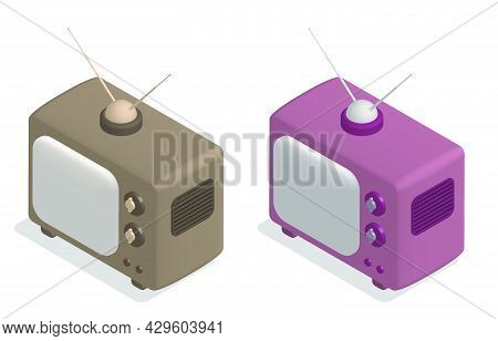 Isometric Old Wooden Tv With Antenna. Vintage Tv. World Television Day 21 November. Cartoon 3d Vecto