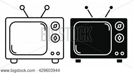 Linear Icon. Old Wooden Tv With Antenna. Vintage Tv. World Television Day 21 November. Simple Black