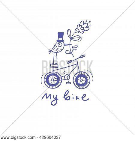 Card With  Cute Cartoon Bird On  Bike. Funny Animal Print. Comical Transport Poster. Vector Doodle C