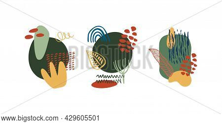 Abstract Organic Shapes, Minimalist Elements, Hand Drawn Lines In Pastel Colors. Modern Abstract Des