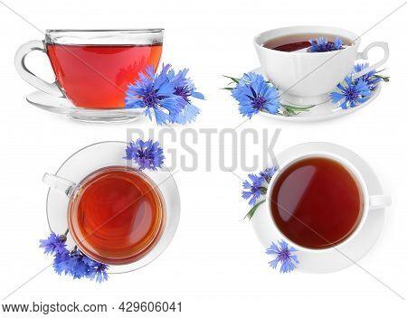Set With Cornflower Tea On White Background