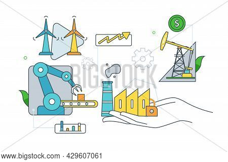 Innovative Manufacturing And Smart Industry. Vector Smart Industrial Revolution Line Art Style. Worl