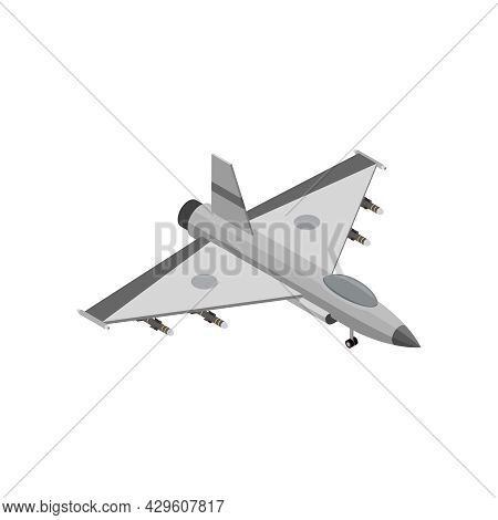 Military Air Forces Isometric Icon With F16 Fighting Falcon 3d Vector Illustration