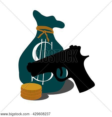 A Symbol With A Money Bag And A Weapon. Vector Illustration Of A Robbery.
