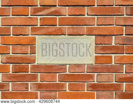 Red Brick Masonry With Empty Advertising Space Close Up.