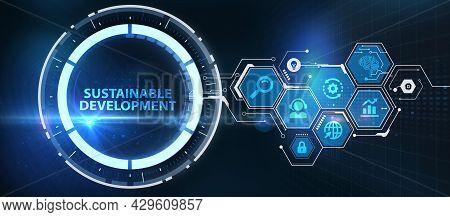 Sustainable Development Inscription, Cloud Technology Concept. Business, Technology, Internet And Ne