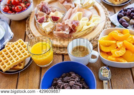 Breakfast With Coffee And Juice. Orange Juice With Coffee For Breakfast. Buffet. Breakfast On The Te