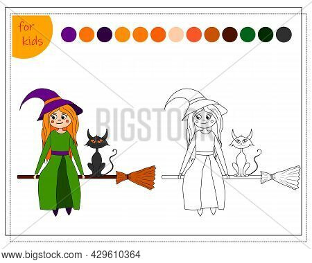 Coloring Book For Children By Colors, Cartoon Witch Sitting On A Broom With A Black Cat, Halloween.