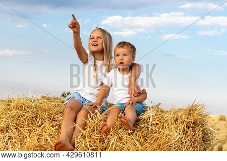 Two Cute Adorable Caucasian Siblings Enjoy Having Fun Sitting On Top Over Golden Hay Bale On Wheat H