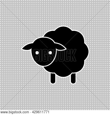 Baby Sheep Icon. Vector Drawing. Lamb Black And White Silhouette.