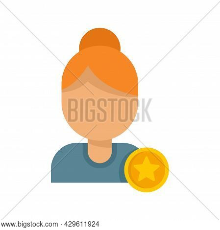 Woman Reputation Icon. Flat Illustration Of Woman Reputation Vector Icon Isolated On White Backgroun