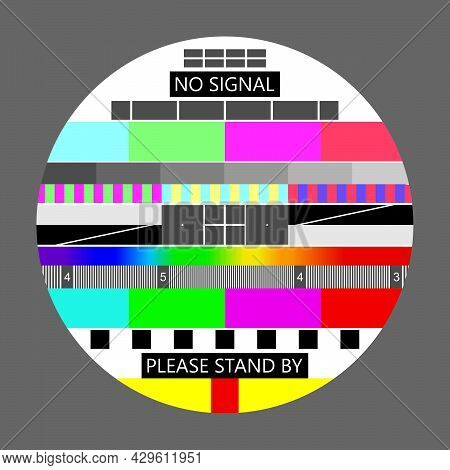 No Signal Tv, Television Test Screen In Case Of No Signal. Test Card Or Pattern, Tv Resolution Test