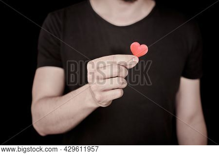 Fall In Love Concept. Give A Heart, In Love Man. Heart As Symbol Of Love In Hand. Enamored Lonely Ma