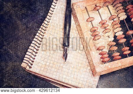 Accounting, Paperwork, Finance Concept. Wooden Accounts, Fountain Pen, Open Blank Notepad On Spring.
