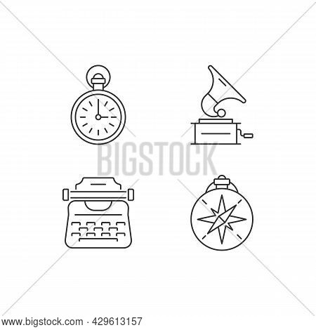 Old-fashioned Items Linear Icons Set. Antique Pocket Watch. Gramophone Records. Vintage Typewriter.