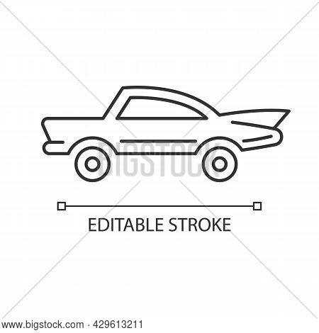 Classic Car Linear Icon. Nostalgic Value. Vintage Automobile. Original Production Model. Thin Line C