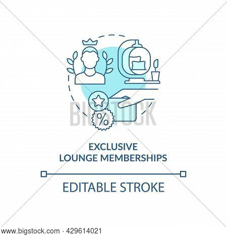 Exclusive Lounge Memberships Blue Concept Icon. Premium Lounge Access Abstract Idea Thin Line Illust