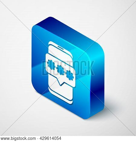 Isometric Mobile And Password Protection Icon Isolated On Grey Background. Security, Safety, Persona