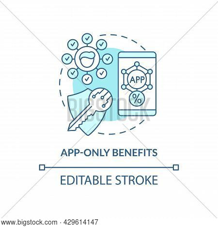 App-only Benefits Blue Concept Icon. Mobile App Bonuses For Loyal Clients Abstract Idea Thin Line Il