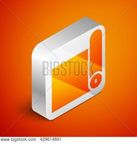 Isometric Fitness Mat Roll Icon Isolated On Orange Background. Yoga Mat Rolled. Sport Equipment. Sil