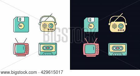 Collectible Vintage Stuff Light And Dark Theme Rgb Color Icons Set. Floppy Disk. Antique Radio. Tv M