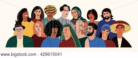 Diverse Multiracial And Multicultural Group Of People. Different Ages And Nationalities Adult Stay T