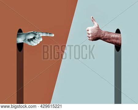 Abstract Hands. Index finger points on thumb up. Provocative modern design with positive context. ?ontemporary art collage in trendy urban minimalistic magazine style.