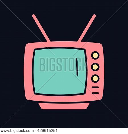 Old-style Television Rgb Color Icon For Dark Theme. Tv Older Model. Transmitting Moving Images In Mo