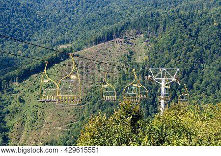 Old Mountain Lift In The Carpathians, Ukraine.