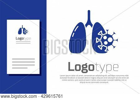 Blue Virus Cells In Lung Icon Isolated On White Background. Infected Lungs. Coronavirus, Covid-19. 2