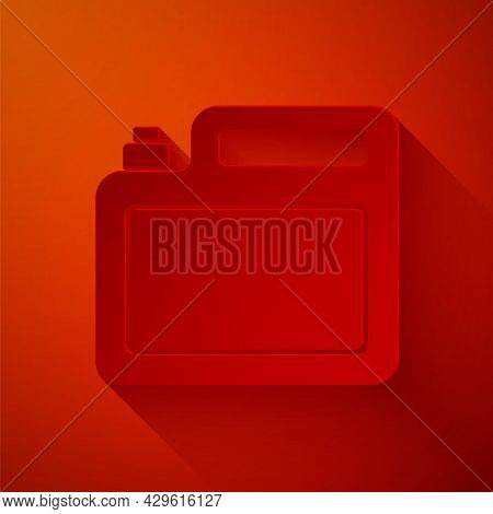 Paper Cut Canister For Motor Machine Oil Icon Isolated On Red Background. Oil Gallon. Oil Change Ser