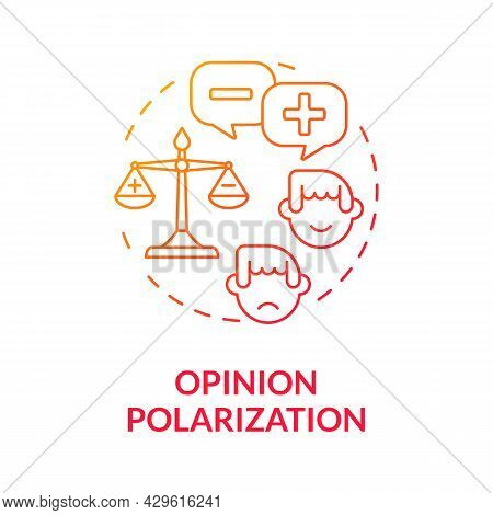 Opinion Polarization Gradient Concept Icon. Political Difference About Global Warming. Opposition, A