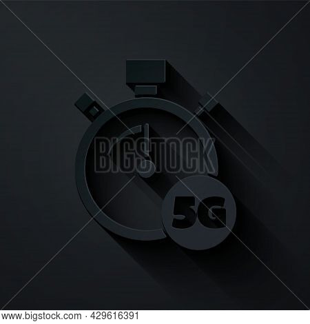 Paper Cut Digital Speed Meter Concept With 5g Icon Isolated On Black Background. Global Network High