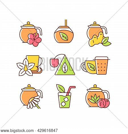 Tea And Tea-like Beverages Rgb Color Icons Set. Hot Herbal Beverages. Chai Drink. Teacups And Access