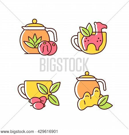 Medicinal Tea Rgb Color Icons Set. Ginger, Lemon And Honey Beverage. Rosehip Infusion. Silicone Funn