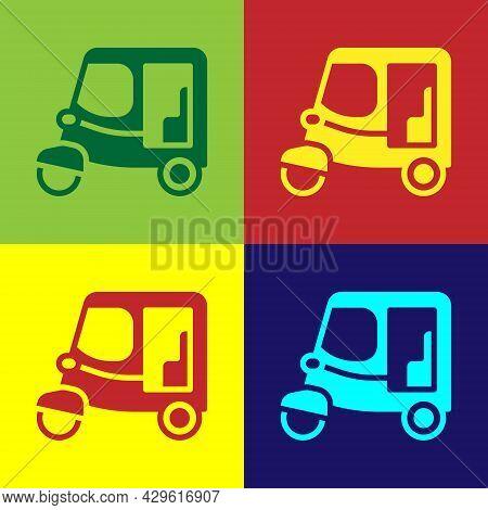 Pop Art Taxi Tuk Tuk Icon Isolated On Color Background. Indian Auto Rickshaw Concept. Delhi Auto. Ve