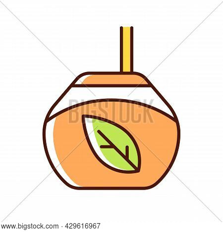 Tea Gourd Cup Rgb Color Icon. Traditional Latin Beverage. Utensil For Yerba Mate. Vessel For Mate Te