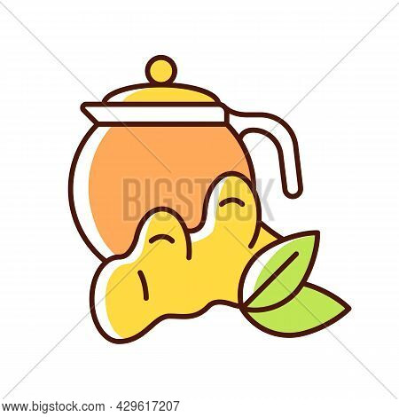 Ginger Tea Rgb Color Icon. Ginger Tea With Lemon And Honey. Rich In Vitamins Soothing Beverage. Flav