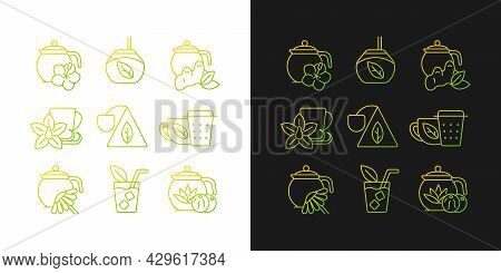 Tea And Tea-like Beverages Gradient Icons Set For Dark And Light Mode. Hot Herbal Beverages. Thin Li